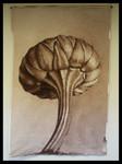 """nach Karl Blossfeldt """"Leucanthemum vulgare"""", Spritztechnik auf Leinwand, ca. 120x170 cm"""